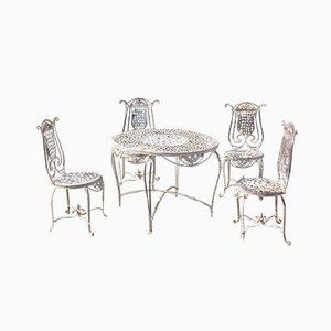 English Wrought Iron Garden Furniture Set with White Patina, 1970s, Set of 5