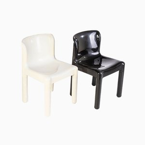 Black & White Chairs by Carlo Bartoli for Kartell, 1970s, Set of 2