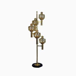 Italian Brass & Murano Glass Floor Lamp from Stilnovo, 1950s