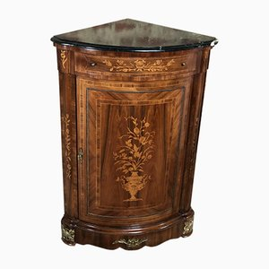 Louis XV & Louis XVI Transition Style Corner Cabinet with Marquetry Veneer, Marble Top & Bronze Decorations, 1950s