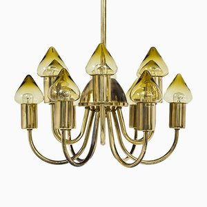 Brass & Glass Model T 789/12 Ceiling Lamp by Hans-Agne Jakobsson for Hans-Agne Jakobsson AB Markaryd, 1950s