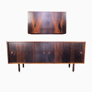 Vintage Wooden Sideboard & Wall Cabinet, 1970s, Set of 2