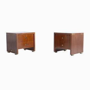 Vintage French Wood & Brass Nightstands by Pierre Balmain, Set of 2