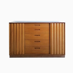 American Walnut Sideboard / Cabinet with Sculptural Sliding Doors by Edward Wormley for Dunbar, 1950s