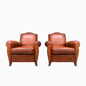 French Leather Model Chapeau du Gendarme Club Chairs, 1940s, Set of 2