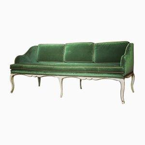 Antique French Fern Green Velvet Sofa