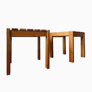 Mid-Century Pine Nightstands, Set of 2