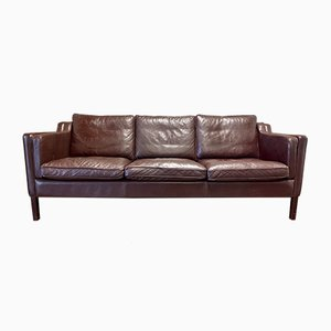 Scandinavian Leather Sofa from Stouby, 1960s
