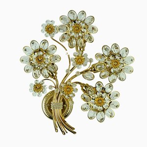 Crystal & Bronze Plated Flower Bouquet Sconce by Christoph Palme for Palwa, 1970s