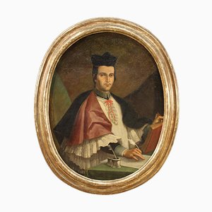 Antique Oval Painting, Portrait of a Bishop, 18th-Century