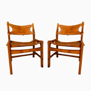 Leather Lounge Chairs, 1970s, Set of 4