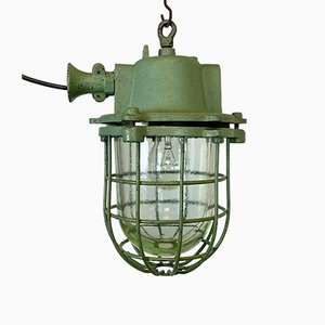 Industrial Green Cast Iron Cage Pendant Light, 1960s