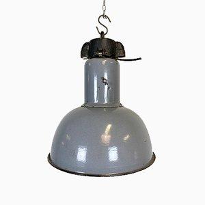 Graue industrielle Bauhaus Deckenlampe aus Emaille, 1930er