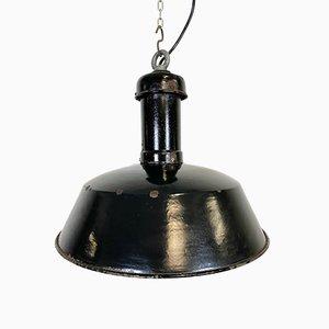 Industrial Black Enamel Pendant Lamp, 1930s