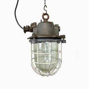 Industrial Grey Cast Iron Cage Pendant Lamp, 1970s