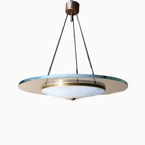 Italienische Mid-Century Deckenlampe aus transparentem & opakem Glas mit Messingstruktur im Stil von Fontana Arte, 1960er