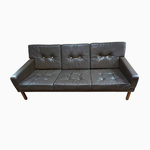 Vintage Scandinavian Leather Sofa with Gold Buttons, 1970s