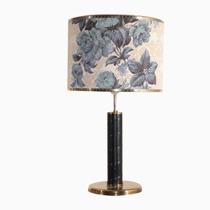 Swedish Brass and Patinated Leather Table Lamp, 1960s