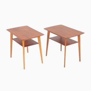 Danish Teak & Oak Side Tables, 1960s, Set of 2