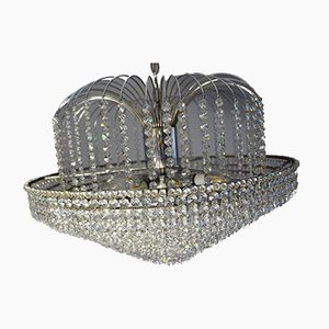 Italian Chromed Metal & Crystal Chandelier with 11 Rings, 1970s