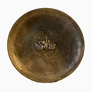 Art Deco Bronze Dish with Swan Design from Tinos, 1930s