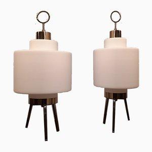 Dreibein Messing & Opalglas Tischlampe