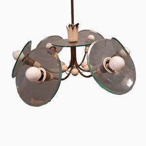 Brass, Iron & Lacquered Aluminum Ceiling Lamp with Curved Glass by Pietro Chiesa for Fontana Arte, 1950s