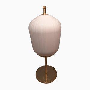 Satin Brass & Large Ribbed Milky Glass Floor Lamp