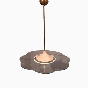 Hängelampe aus Messing & Schilfrohr von Pietro Chiesa für Fontana Arte, 1950er