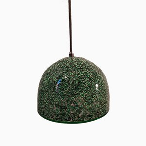 Green & Black Spotted Glass Model Neverrino Pendant Lamp by Gae Aulenti for Vistosi, 1970s