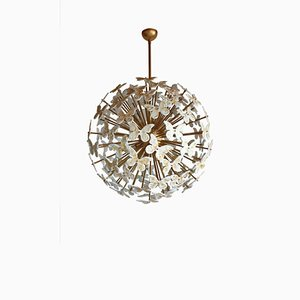 Large Brass Ceiling Lamp with White & Gold Murano Glass Butterflies from Made Murano Glass