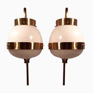 Große Messing Modell Delta Wandlampe von Sergio Mazza für Artemide, 1960er
