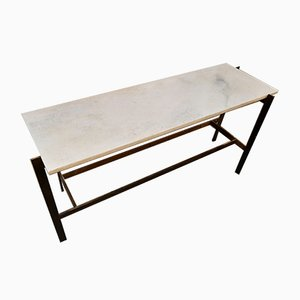Large Brass Console Table with White Marble Top by Paolo Tilche for Arform, 1950s