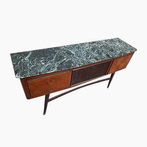 Chest of Drawers with 4 Drawers, Central Compartment & Green Marble Top by Vittorio Dassi, 1950s