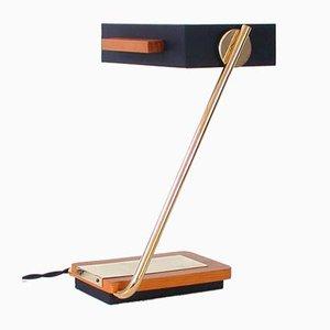 Kubistische Deutsche Schreibtischlampe aus Teak, Messing & Schwarzem Metall von Kaiser Leuchten, 1960er