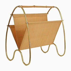 Austrian Brass & Bamboo Magazine Rack by Carl Auböck, 1950s