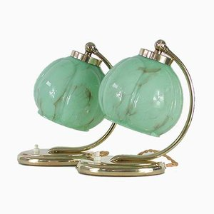 German Bauhaus Brass Table Lamps with Marbled Opaline Glass Shades, Set of 2, 1930s