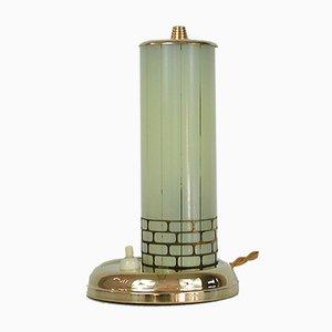 Schwedische Messing & Gestreifte Glas Tischlampe, 1940er