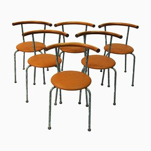 Brown Leather Dining Stools by Jerry Hellström, 1988, Set of 6