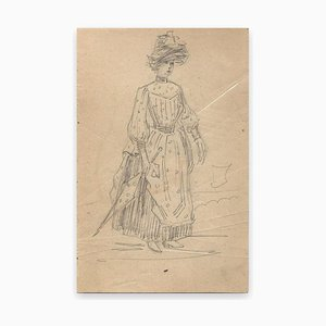 George Auriol - Young Woman With Umbrella - Pencil Drawing - 1890s