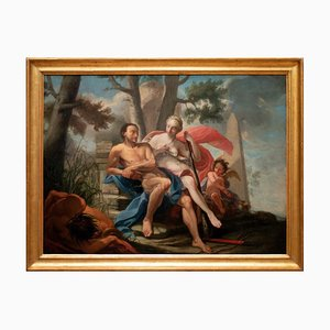 Hercules and Omphale - Oil Painting On Canvas - 18th-Century