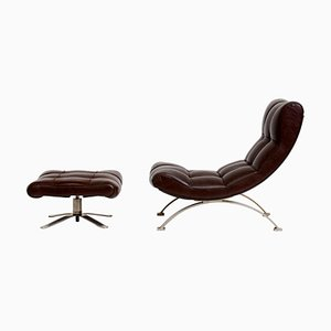 Vintage Leather Armchair with Footrest, 1960s, Set of 2