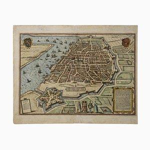 Franz Hogenberg - Mappa di Anversa - Acquaforte - Fine XVI secolo