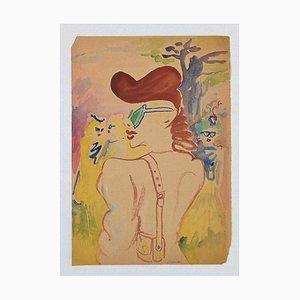 Mino Maccari - Portraits - Encre et Aquarelle Sur Papier - 1950s