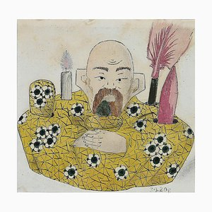 Unknown - Porcelain Writing Service - Original China Ink and Watercolor Drawing - 1890s