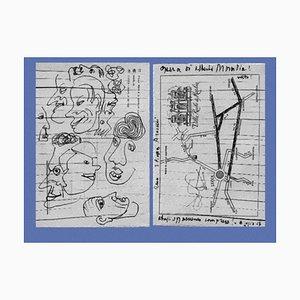 Alberto Moravia, Fahrkarte, Letters With Sketches, 1956