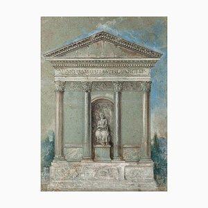 Inconnu - Architecture Néoclassique - Encre Originale, Pastel et Aquarelle - 19ème Siècle