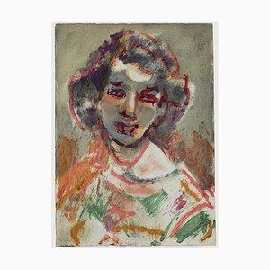 Mino Maccari - Portrait of A Woman - Original Aquarell - 1960er