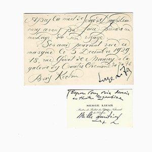 Boris Kochno, Serge Lifar - Diaghilev Commemorative Card - 1929