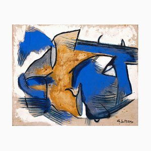 Giorgio Lo Fermo - Blue and Yellow Composition - Oil Painting - 2015